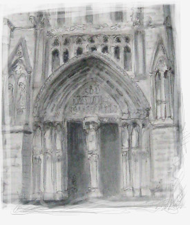 detail of a drawing of the cathedral Saint Andre in Bordeaux
