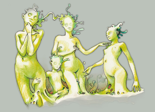 Green creatures family by Zancan